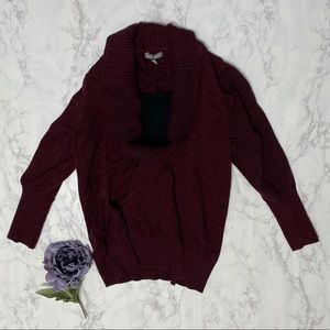 Roz & Ali wine cowl neck long sleeve sweater 2x